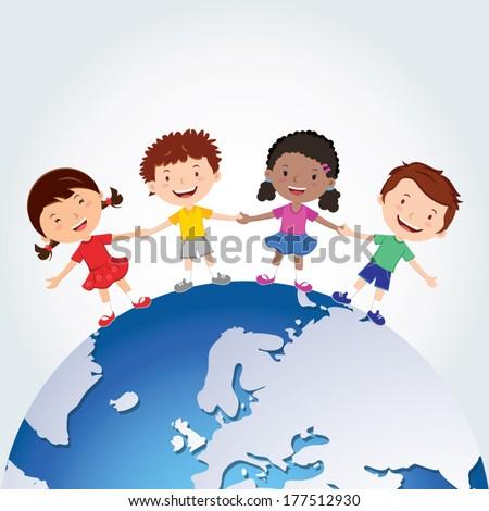 World kids. International friendship day! Vector illustration of diverse Children Holding Hands around the planet. - stock vector