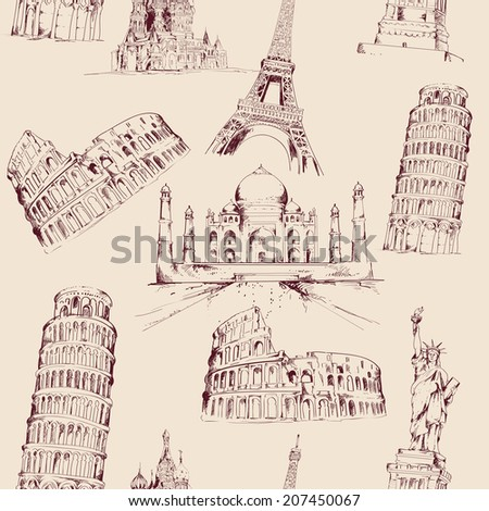 World landmark sketch seamless pattern with famous architecture culture buildings vector illustration