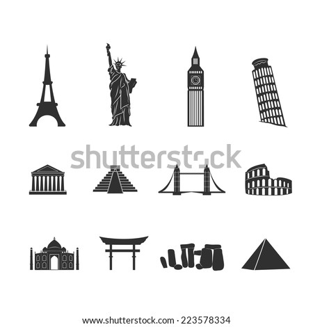 World landmarks abstract black and white icons set