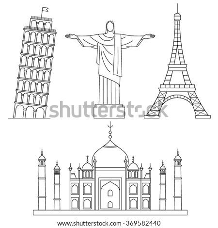 World Landmarks, Eiffel Tower, Leaning Tower of Pisa, Christ the Redeemer, Taj Muhal . Vector line icons set. - stock vector