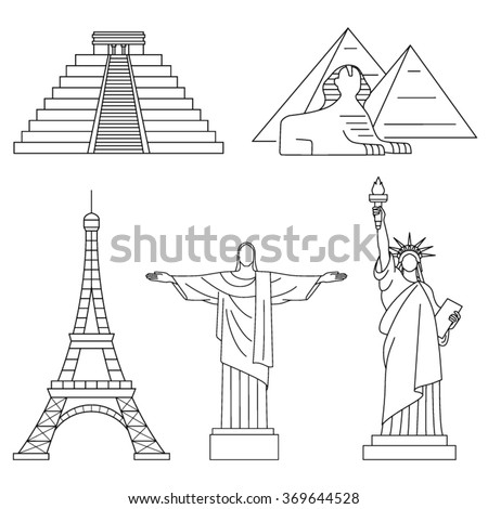 World Landmarks, Eiffel Tower, Statue of liberty,Chichen Itza, Christ the Redeemer, Sphinx. Vector line icons set. - stock vector