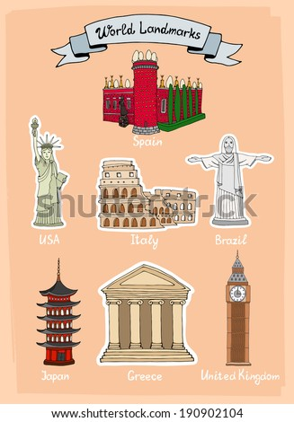 World Landmarks hand-drawn icon set with Castello de Mendoza in Spain  Statue of Liberty in USA  Colosseum in Italy  Statue of Christ in Brazil  Palace in Japan  Parthenon in Greece and Big Ben in UK - stock vector