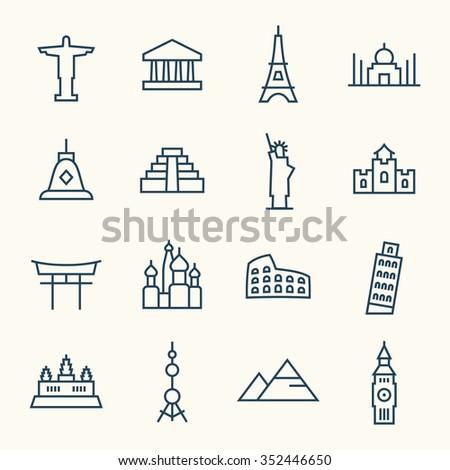 World landmarks line icon set - stock vector