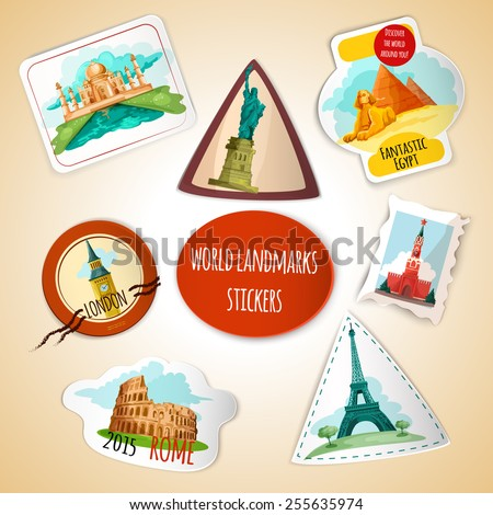World landmarks paper stickers set with liberty statue pisa tower pyramids isolated vector illustration - stock vector