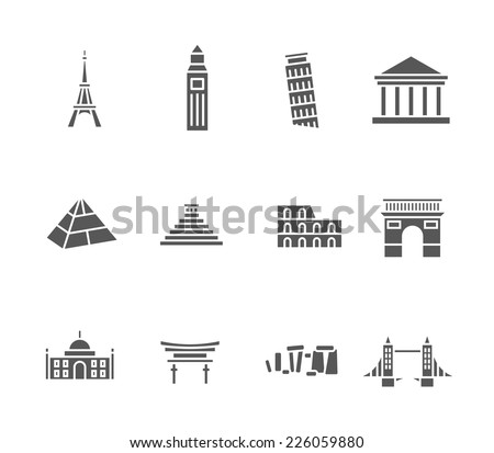 World landmarks silhouette icons, abstract vector set - stock vector