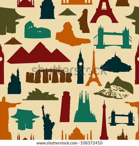 World landmarks silhouettes seamless pattern. Vector file layered for easy manipulation and custom coloring. - stock vector