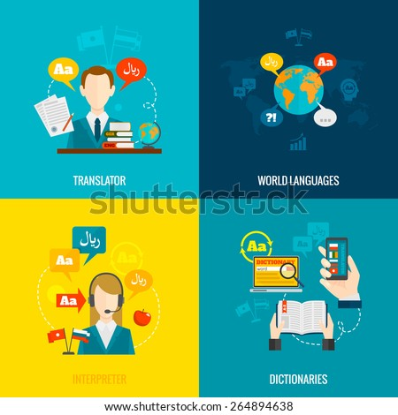 World languages translator interpreter 4 flat  icons composition with computer electronic mobile dictionaries abstract  isolated vector illustration - stock vector