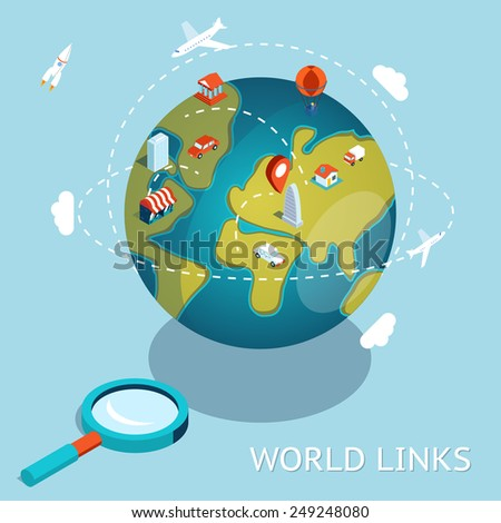 World Links. Global communication air and car connection. Vector illustration - stock vector