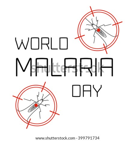 World Malaria Day concept with mosquitoes in targets. Mosquito on red target. Mosquito warning. Malaria awareness sign. Malaria transmission.  Malaria solidarity day. Vector illustration.   - stock vector