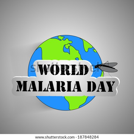 World Malaria Day text with effects on a Earth with mosquito - stock vector