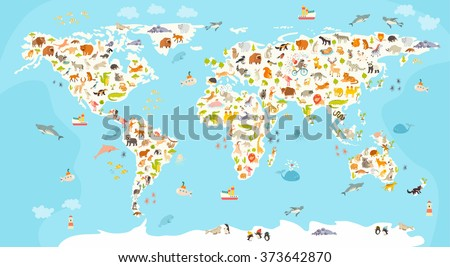 World mammal map beautiful cheerful colorful vector de world mammal map beautiful cheerful colorful vector illustration for children and kids preschool gumiabroncs Image collections