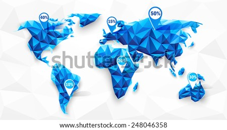 World map abstract geometric shapes, polygonal graphic. Vector illustration - stock vector