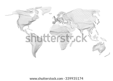 World map. Abstract vintage computer graphic of black hologram lines. Card global geography, connect, continent and planet. Patterned vector illustration of curve graph. For your design and business - stock vector