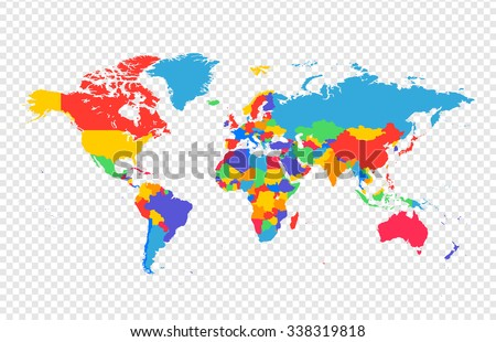 World map - all countries in separate layers - stock vector