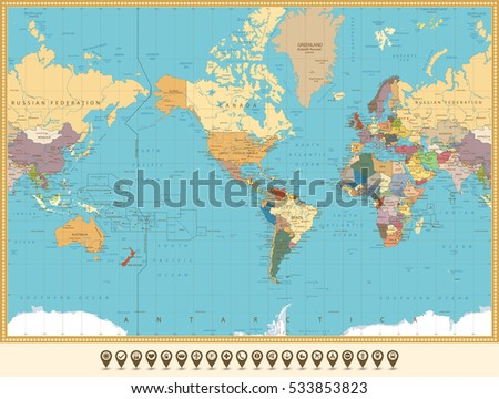 World map america centered map pointers stock vector 533853823 world map america centered and map pointers retro color all elements are separated in gumiabroncs Image collections