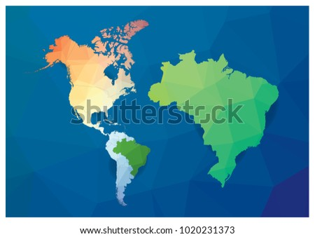 World map big brazil map triangle stock vector 1020231373 shutterstock world map and big brazil map triangle polygon geometry style vector eps 10 gumiabroncs Image collections