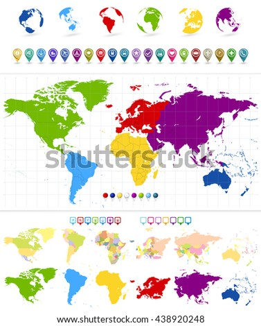 World Map and colorful continents with large navigation icon set - stock vector