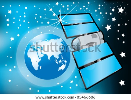 world map and communications satellite. vector - stock vector