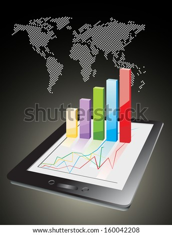 world map and computer tablet showing a spreadsheet with some 3d charts over it - stock vector