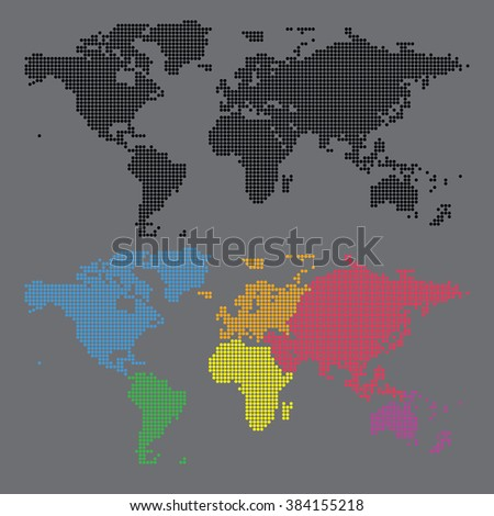 World map and continent halftone dot vector set  - stock vector