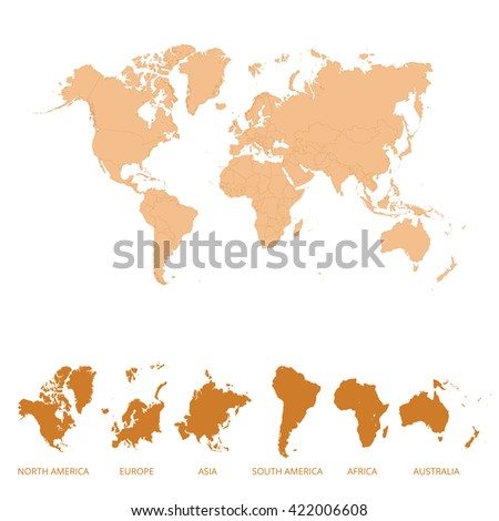 World map and continents map. Vector illustration.