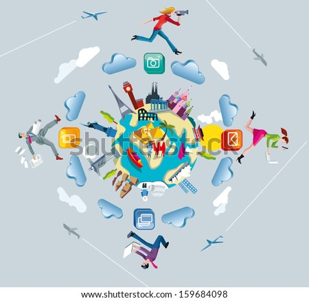 World Map and Crowd sourcing. A world globe with monuments from the five continents. Four characters run and jump through the clouds while working interconnected together. - stock vector