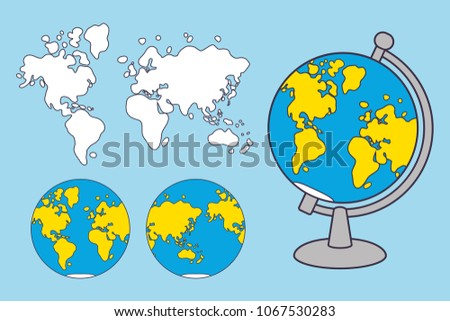 world map and globe cartoon vector