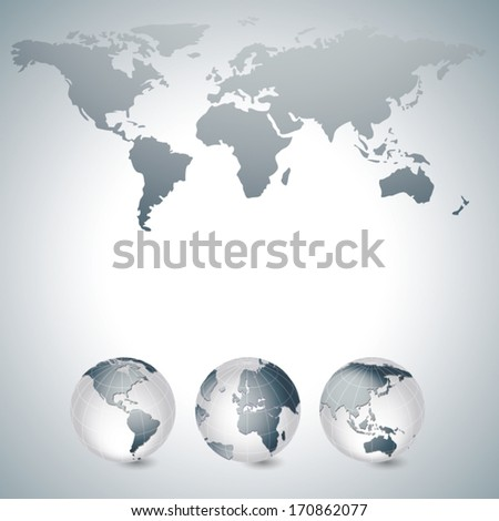 World map and globes grey
