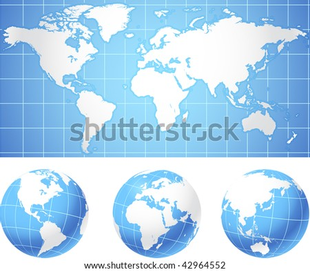 World map and globes Original Vector Illustration - stock vector