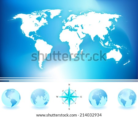 World map and globes with compass. - stock vector