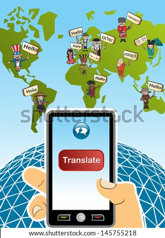 World map and hand with smartphone translation concept background. Vector illustration layered for easy editing. - stock vector