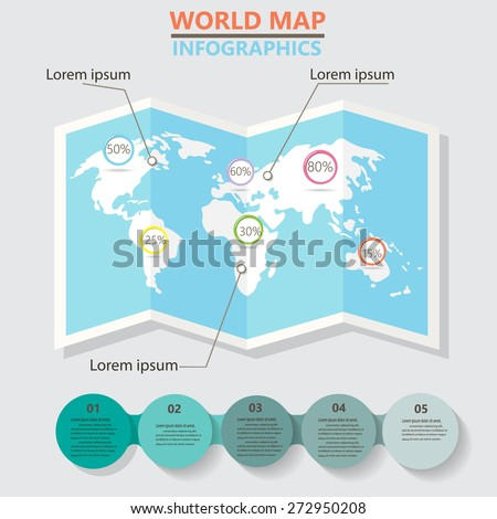 world map and  infographics elements. can be used for workflow layout, diagram, step up options, statistic elements, web design. Vector illustration. - stock vector