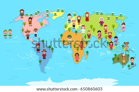 World map kids various nationalities stock vector 650860603 world map and kids of various nationalities gumiabroncs Image collections