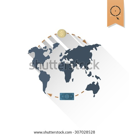 World Map and Money. Business and Finance, Single Flat Icon. Simple and Minimalistic Style. Vector - stock vector