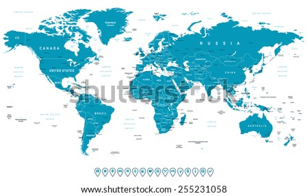 World Map and navigation icons - illustration. Highly detailed world map: countries, cities, water objects - stock vector