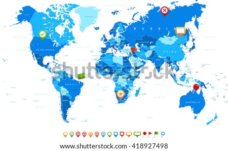 World Map and navigation icons - illustration Vector illustration of World map and navigation icons
