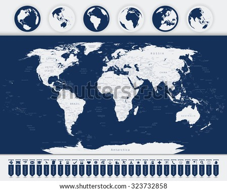 World map and Navigation Map Pointers with Flat Globes. - stock vector