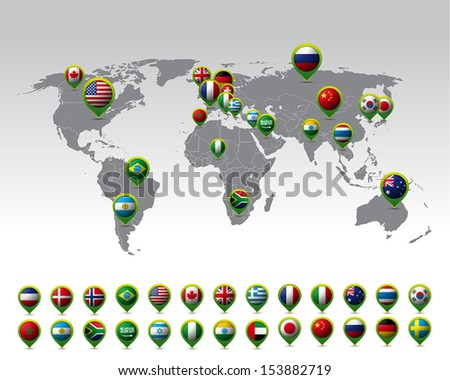 World map pins flags vector stock vector 153882719 shutterstock world map and pins with flags vector gumiabroncs Images