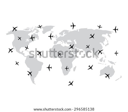 World map and plane or aircraft in vector - stock vector