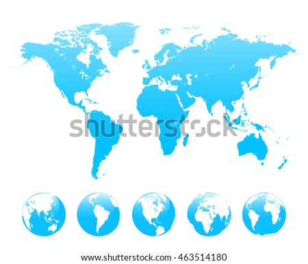 World map and set of Earth globe vector