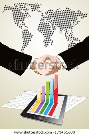 World Map and Tablet showing a spreadsheet and a paper with statistic charts, handshake isolated on business background - stock vector