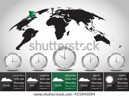 World map and time zone vector illustration Elements of this image furnished by NASA - stock vector