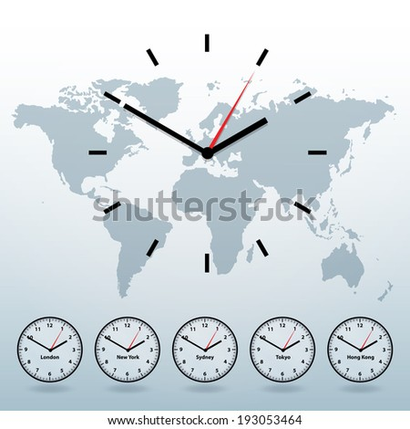 World map and world time vector background