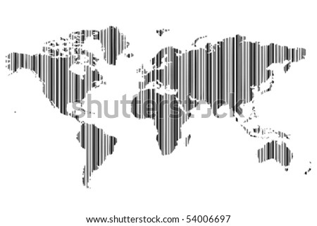 World map barcode stock vector 54006697 shutterstock world map as bar code gumiabroncs Image collections