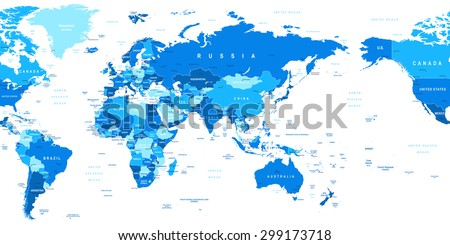 World Map - Asia in center - stock vector