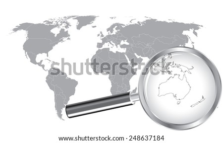 World Map Australia Wired Continent with Magnifier Glass - stock vector