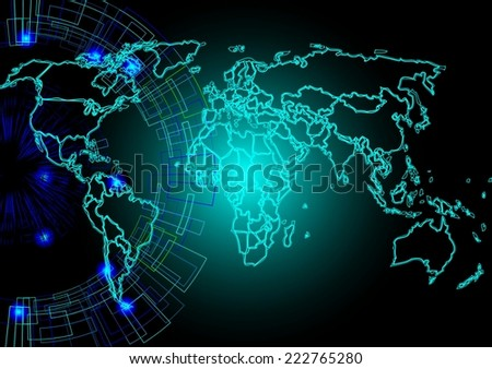 World map background,Abstract computer graphic World map of blue round dots. Vector illustration.