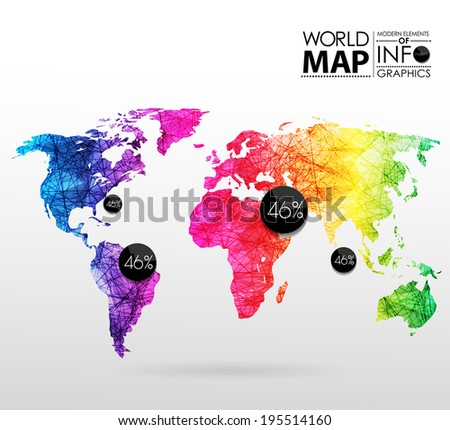 World map background in polygonal style. Modern elements of info graphics. World Map - stock vector