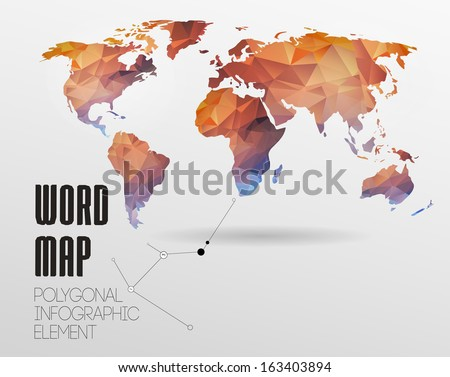 World map background in polygonal style. Vector background - stock vector