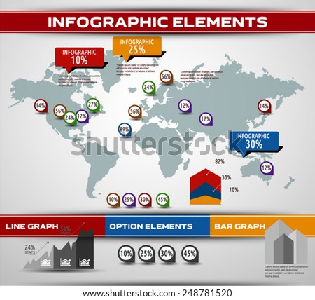 World map background. Modern elements of info graphics. World Map stock vector template